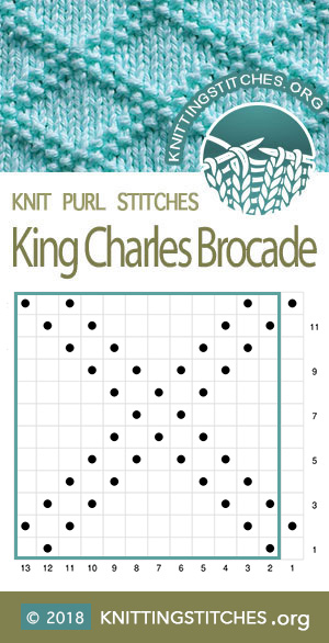 King Charles Brocade Chart. Multiple of 12 sts, plus 1. Techniques used: Knit and Purl. #knitpurl #knitting