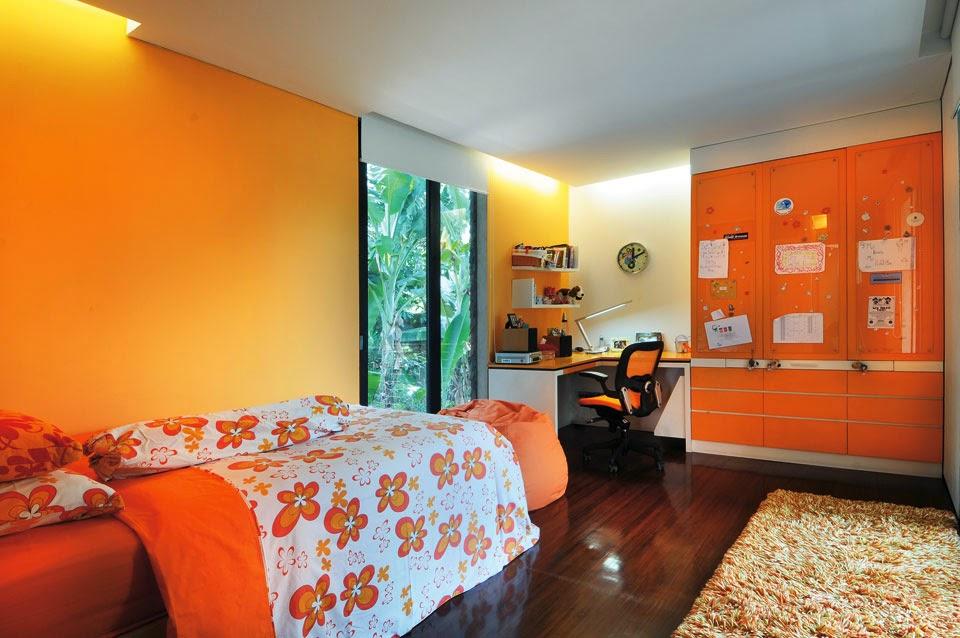 Desain Interior Kamar Tidur Anak Perempuan Warna Orange