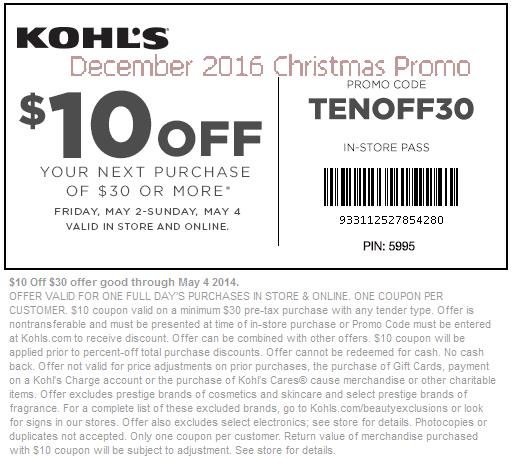 Kohls in store coupon code december 2018