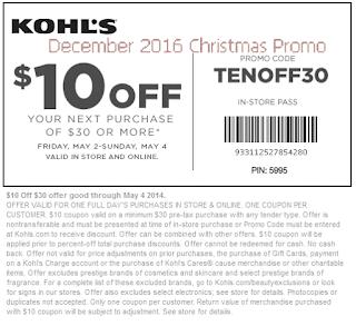 Kohls coupons december 2016
