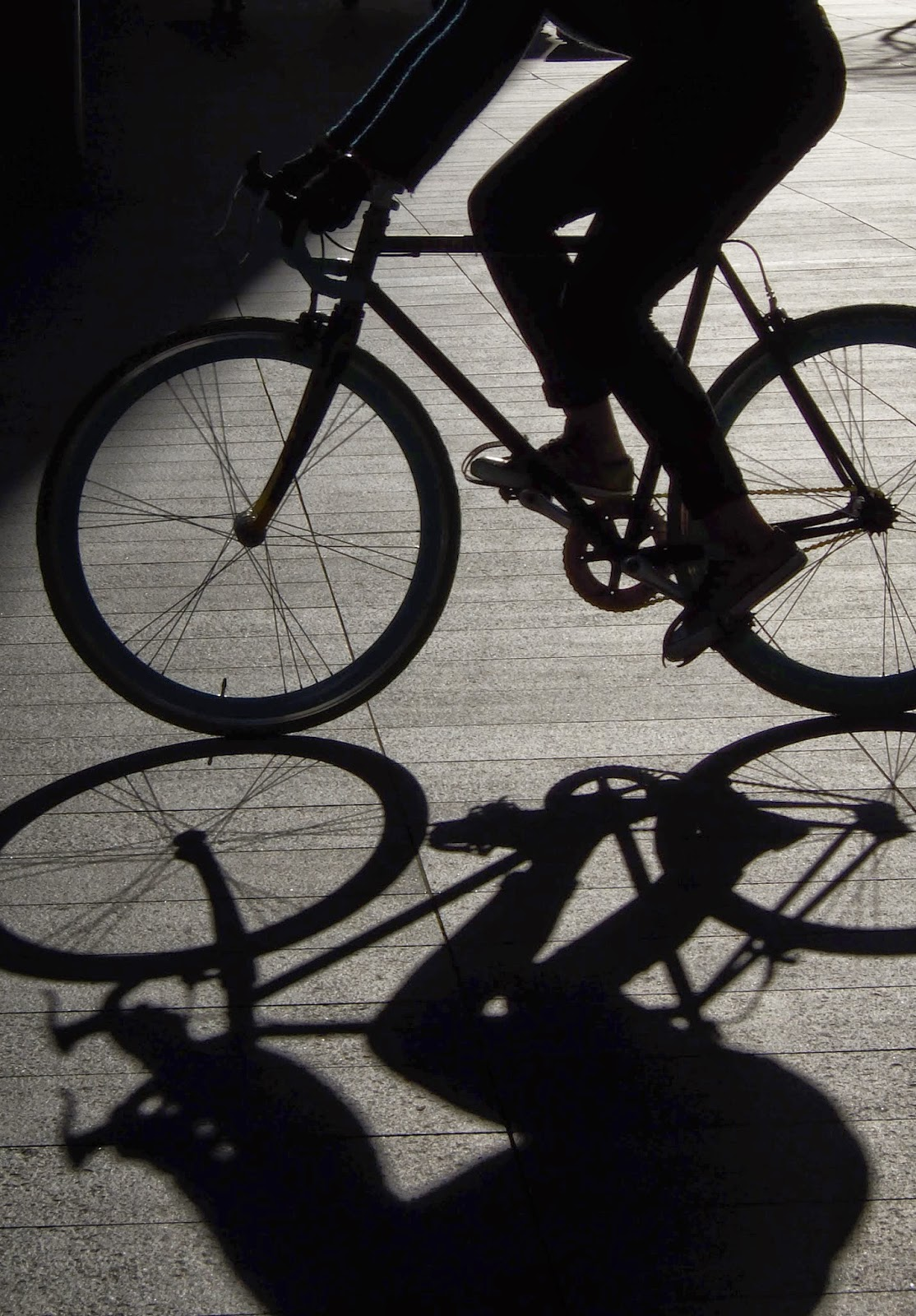 Bicycle, Cyclist, Shadow, City