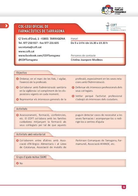 Xarxa de Suport a les Famílies Cuidadores de Tarragona: Col·legi Oficial de Farmacèutics de Tarragona
