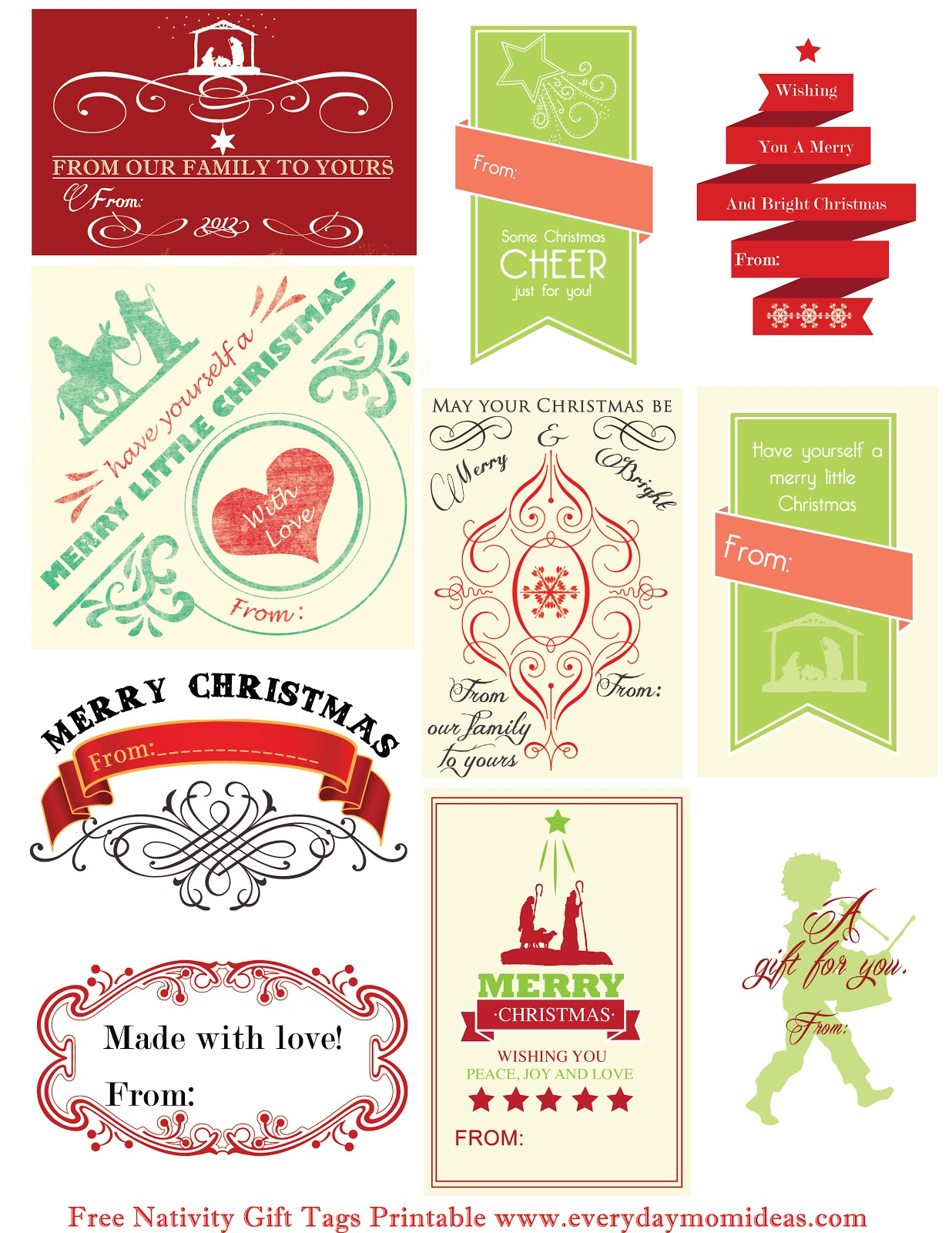 Free Nativity T Tags Printable
