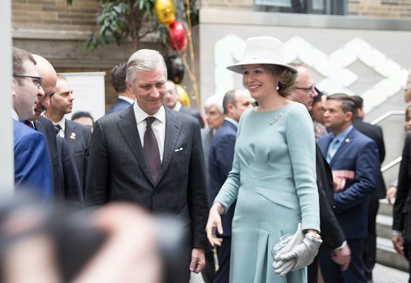 Queen Mathilde wore a gray embroidered coat by Esmeralda Ammoun, a Belgian designer