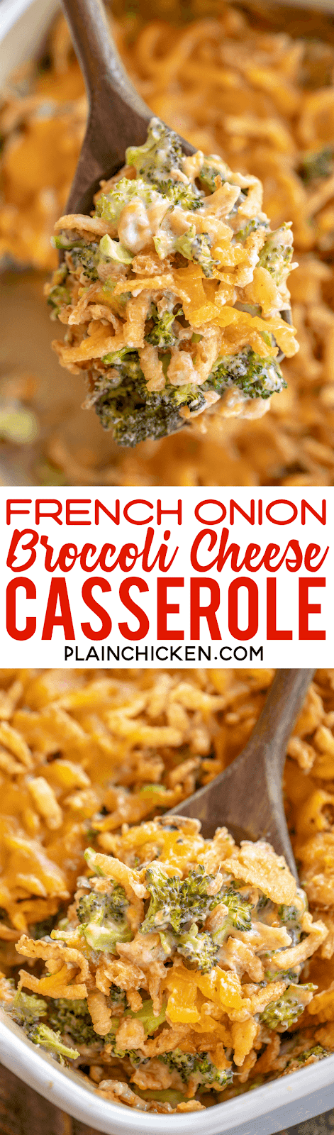 French Onion Broccoli Cheese Casserole - hands down the BEST broccoli casserole! Even our broccoli haters loved this casserole. Only 5 ingredients - broccoli, cream of mushroom soup, french onion dip, cheddar cheese and french fried onions. Can assemble ahead of time and refrigerate overnight. This was a HUGE hit in our house! #broccoli #casserole #sidedish #vegetable