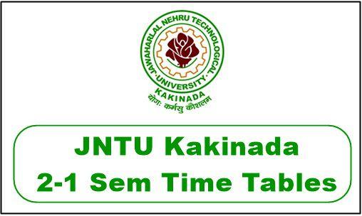 JNTUK 2-1 Supply Time Table 2019