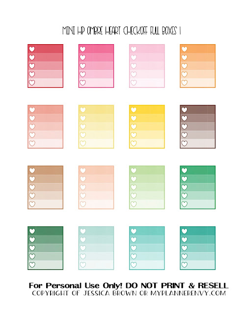 Free Printable Ombre Heart Checkoff Full Boxes 1 of 3 for the Mini Happy Planner from myplannerenvy.com