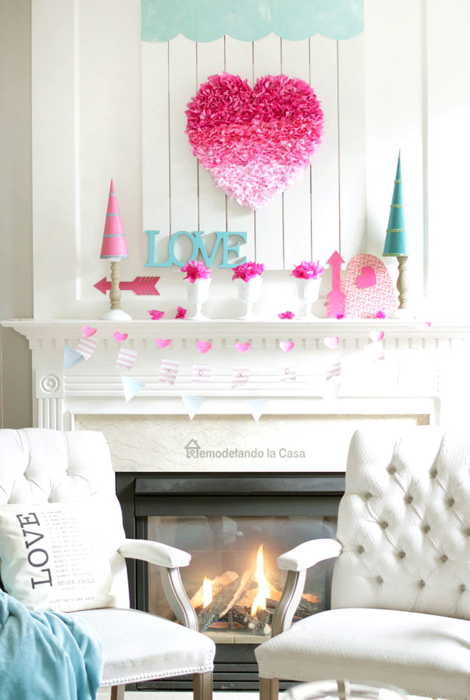 fireplace mantel with arrows, garlands and hearts
