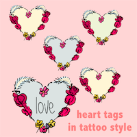 heart in tattoos style tags