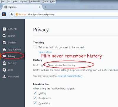 (Tips) Cara Mudah Menonaktifkan History di Mozilla Firefox (Never Remember History)