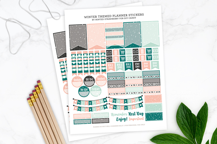 diy winter planner stickers