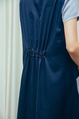 最美的夜 短袖拼接長洋裝天色藍