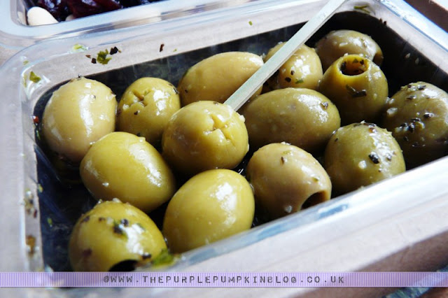graze box snack - green olives with basil and garlic