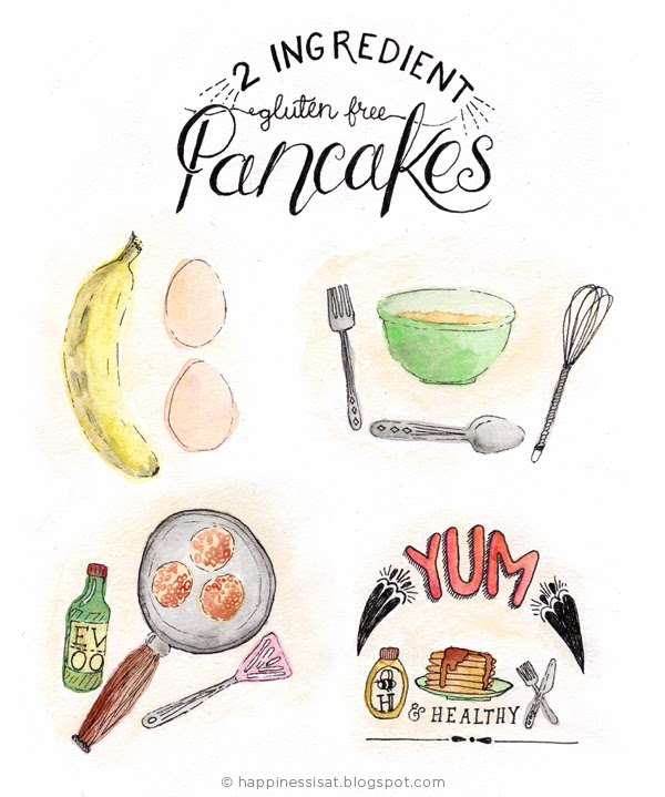 Happiness is... 2-Ingredient Gluten Free Pancakes - an easy illustrated recipe