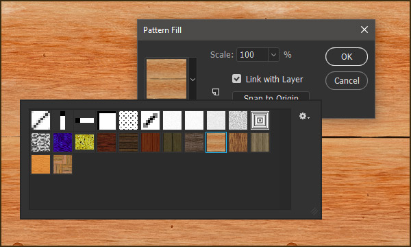 Pattern Fill layer in Photoshop with seamless tiling pattern in use