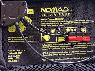 The Nomad 7 solar panel with an Anderson PowerPole soldered on.