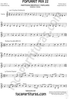 Partitura de Violín  Yankee Doodley, Las 3 hojitas, La Pastora Popurrí Mix 22 Sheet Music for Violin Music Scores Music Score