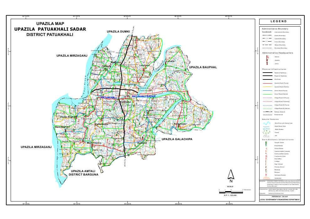 Patuakhali Sadar Upazila Map Patuakhali  District Bangladesh