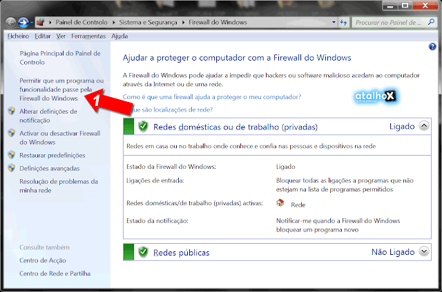 Janela Windows Firewall