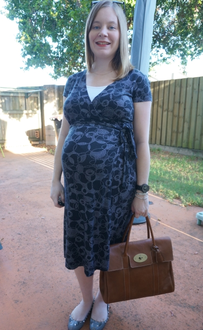 AwayFromBlue | Third Trimester Office Wear Thrifted Pritned wrap dress Mulberry Bays