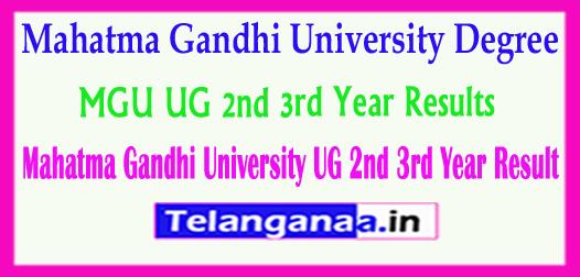 MGU Degree Mahatma Gandhi University UG 2nd 3rd Year Results 2018