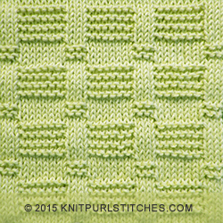 Stitches And Rows In Knitting : Blocks - Pattern 2 Knit - Purl stitches