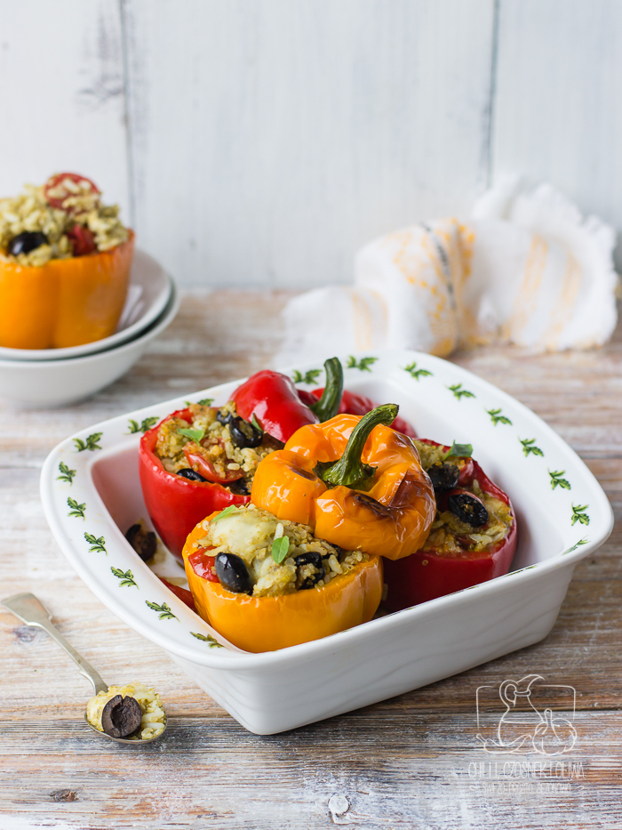 Papryki faszerowane z pesto genovese, pomidorkami i mozzarellą / Chilli Czosnek i Oliwa