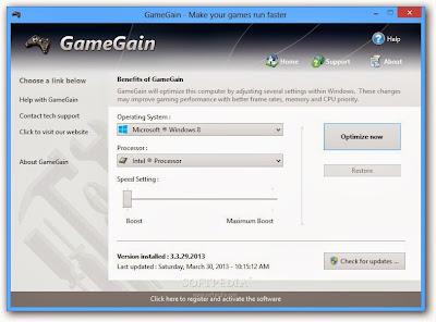 تحميل أفضل برنامج لزيادة سرعة تشغيل الالعاب GameGain 2020 للكمبيوتر