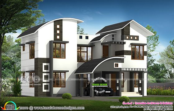 2711 square feet 4 bedroom curved roof mix home