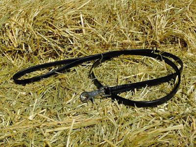 Guinzaglio leggero da 1,5 m in cuoio nero con moschettone inox fatto e cucito a mano