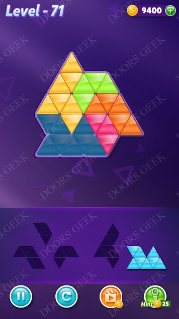 Block! Triangle Puzzle 5 Mania Level 71 Solution, Cheats, Walkthrough for Android, iPhone, iPad and iPod