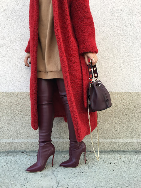 Teddy coat, teddy red coat, red coat, winter coat, OTK boots, burgundy OTK boots, red OTK boots, winter outfit, spring outfit, toronto fashion blogger, best toronto street style, best of belgrade style