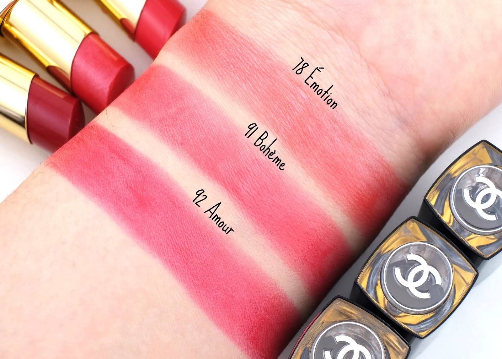 "Chanel | Rouge Coco Flash in ""78 Émotion"", ""91 Bohème"" & ""92 Amour"": Review and Swatches"