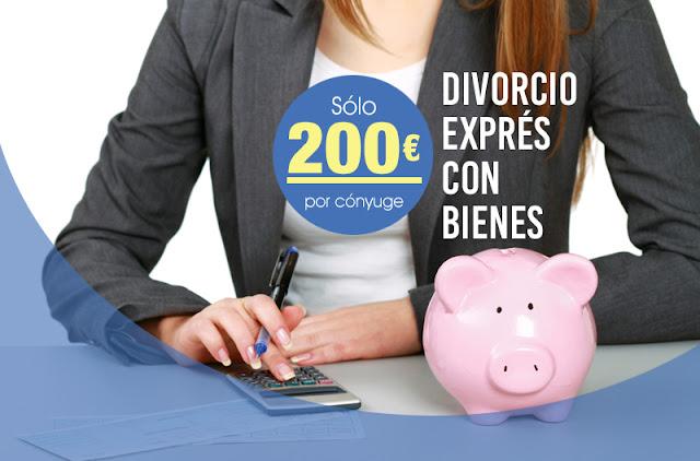 Divorcio exprés con bienes desde 200 euros