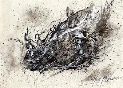 Pintura con salpicaduras contemporanea de Rinoceronte