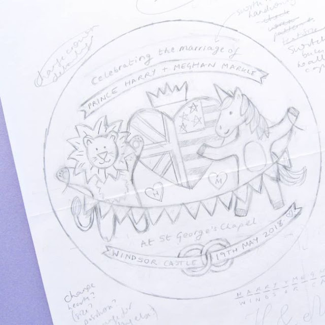sketch for an embroidery pattern celebrating the Royal Wedding