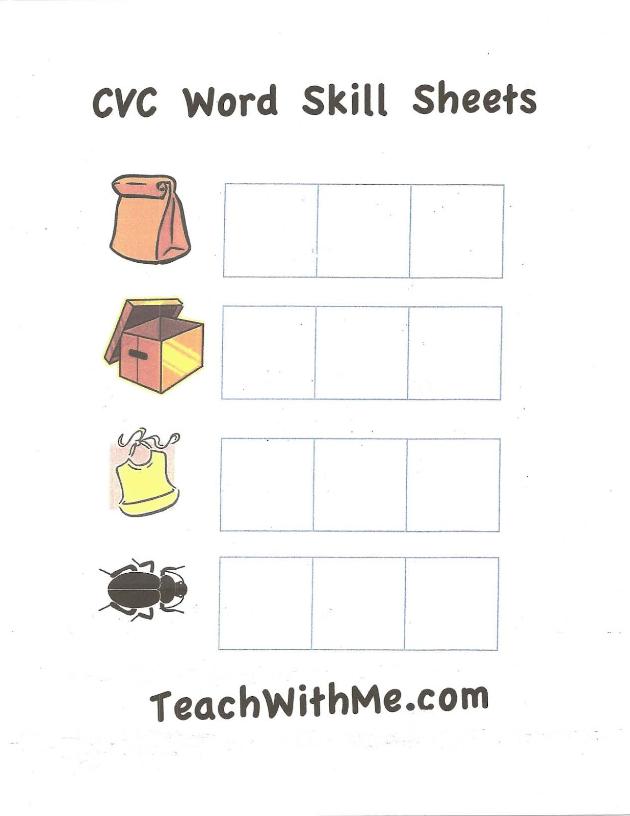 CVC Worksheets - Classroom Freebies