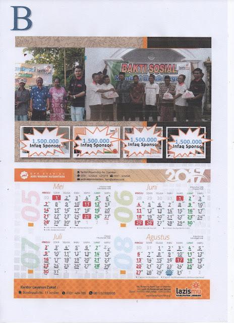 Paket B Penawaran Sponsorship Kalender Lazismu Jember Tahun 2018