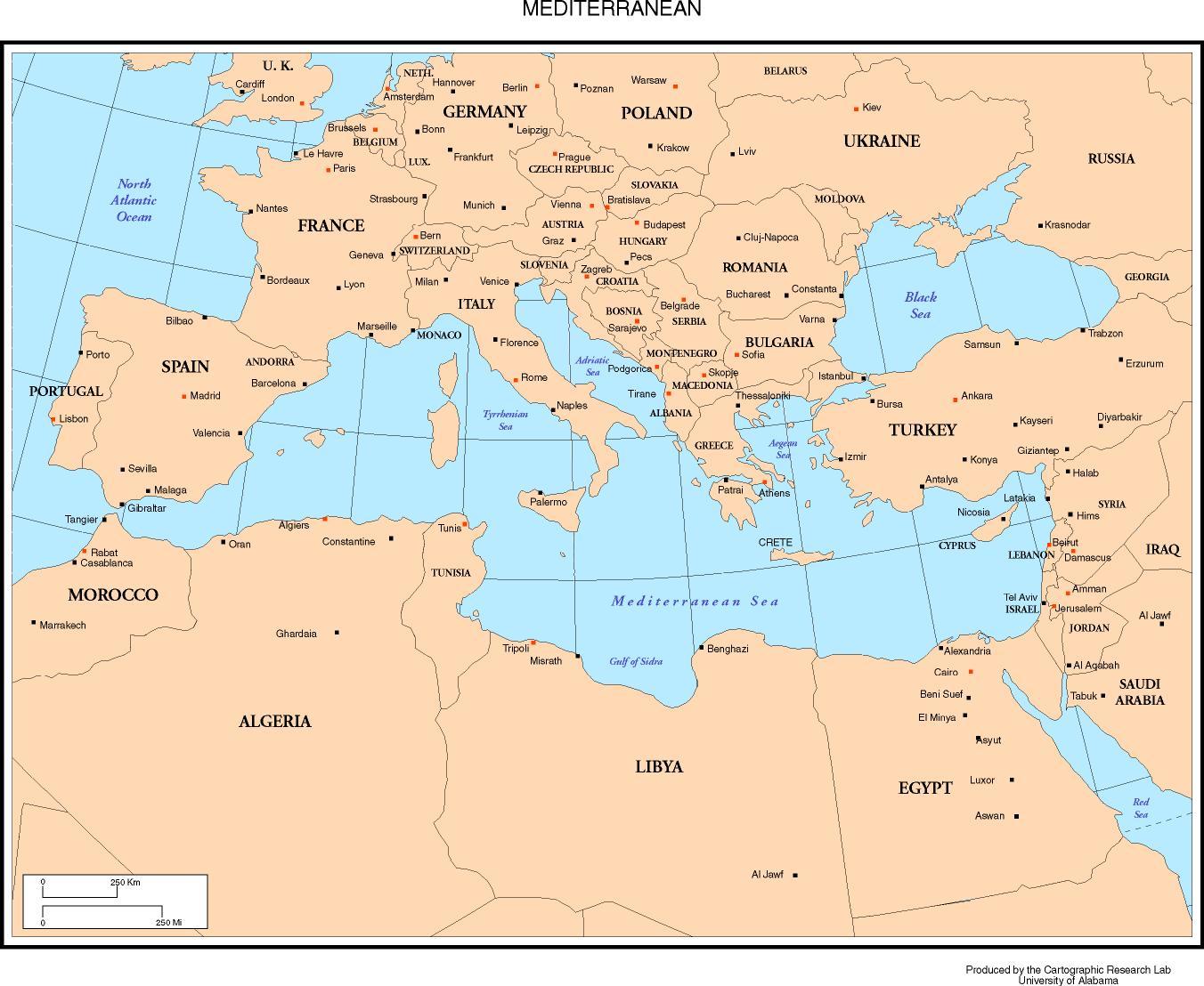 kart middelhavet Usa Kart Kart kart middelhavet