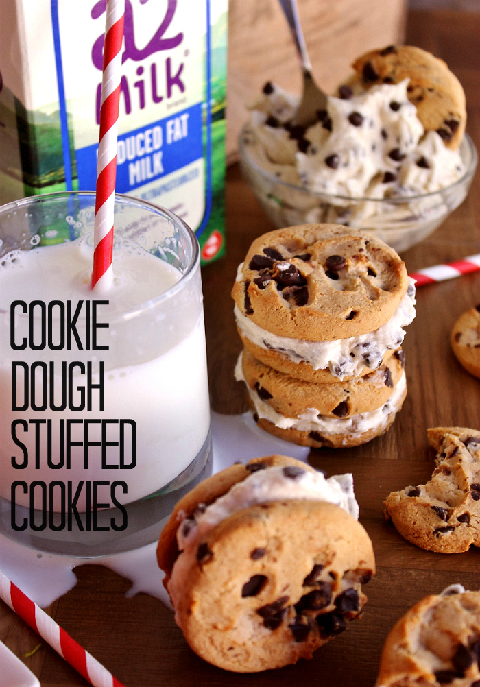 Cookie Dough Stuffed Cookies Recipe- #a2Milk is naturally free of the bothersome (tummy trouble causing) A1 protein because it comes from heirloom a2 cows that are naturally free of it. So you can enjoy all your favorite foods with milk again. #IC (ad)