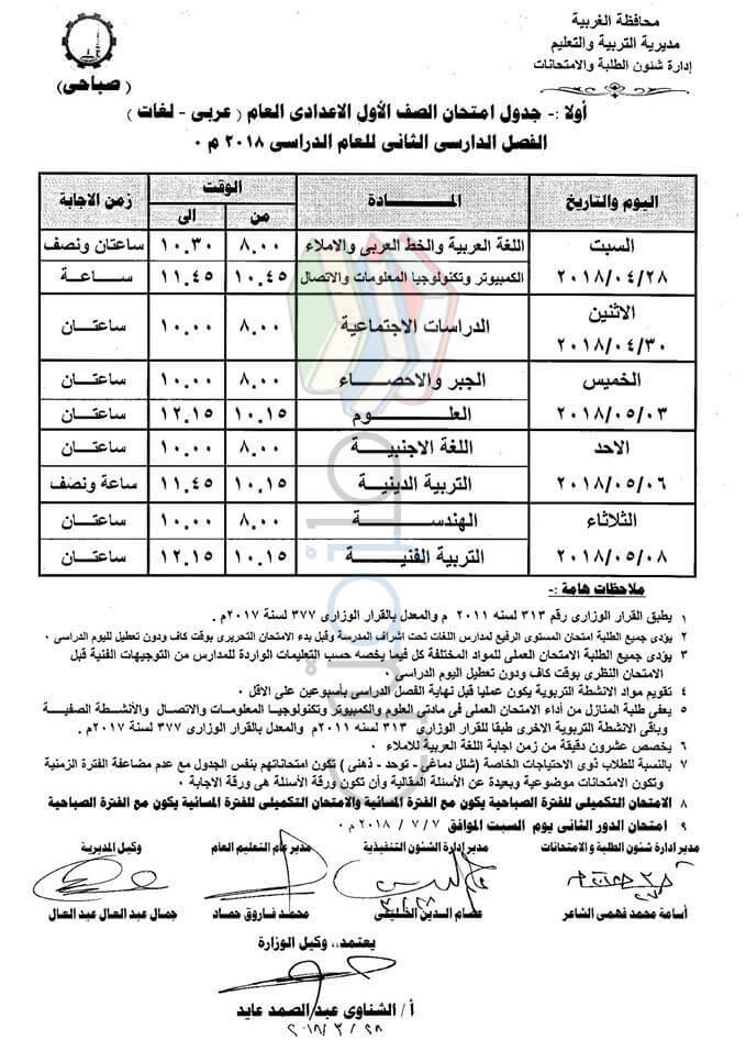 جدول امتحانات اخر العام محافظة الغربية