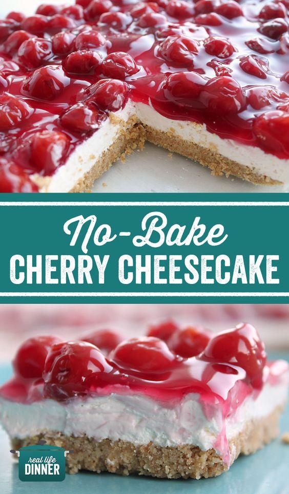 NO-BAKE CHERRY CHEESECAKE #Nobake #Easyrecipe #simplyrecipe Cherry #cheesecake #Cake Cheese #bestcake #BEstdessert #Dessert