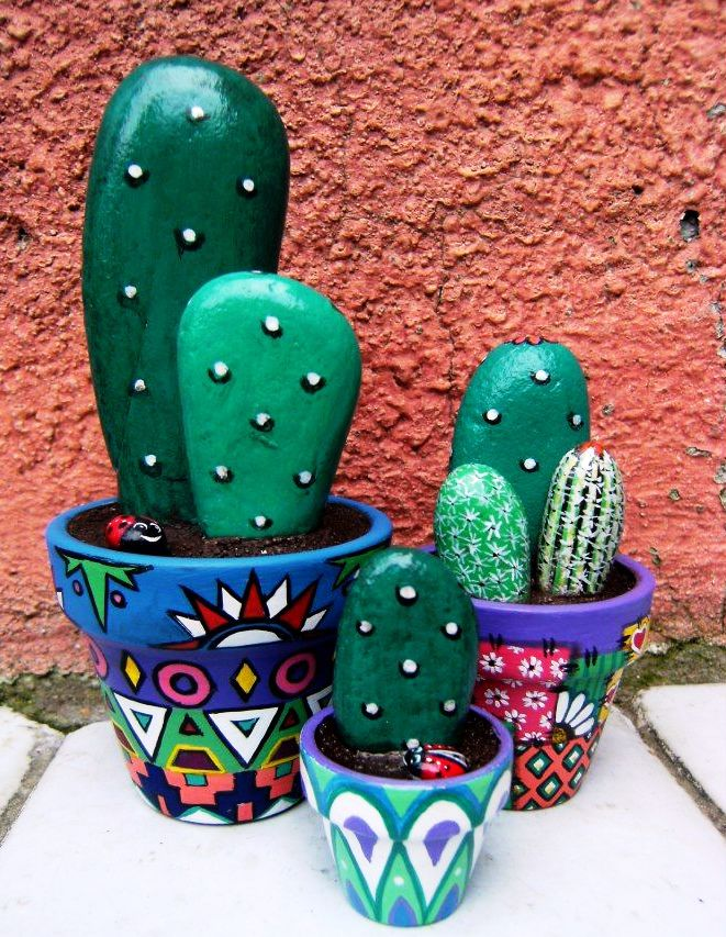 Painted Rock Cactus Pattern For Home Decor Arts And Crafts Ideas