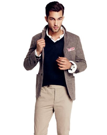 98ae73585 Herringbone blazer, navy v-neck sweater, white button-up shirt, khaki  trousers, pink check handkerchief