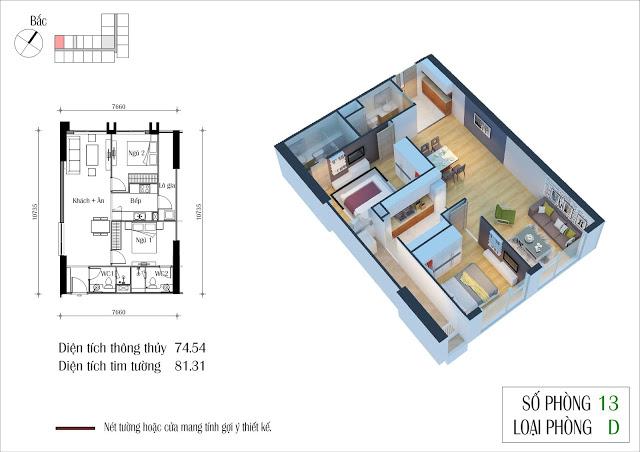 Thiết kế chi tiết căn hộ số 13 toà CT4 Eco Green City