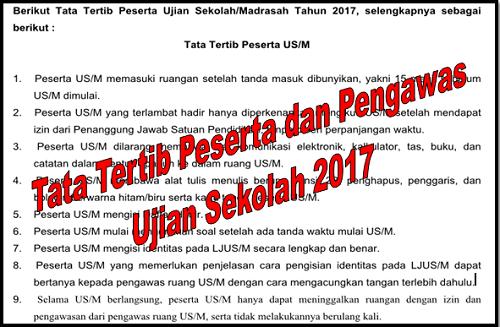 Tata Tertib Peserta dan Pengawas Ujian Sekolah 2017