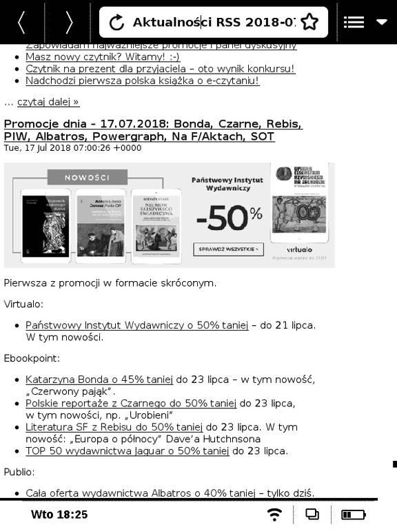 PocketBook Basic Touch 2 Save & Safe – plik hrss z pobranymi artykułami otwierany jets w przeglądarce