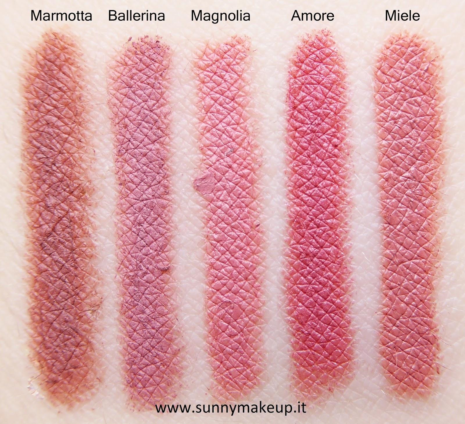 Swatch comparativi Neve Cosmetics - Matite Labbra Pastello