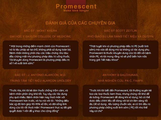 Đánh giá từ các chuyên gia nói về Promescent