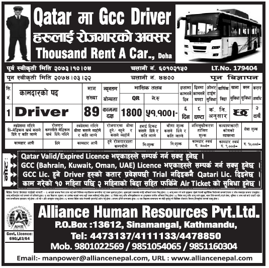 Jobs in Qatar for Nepali, Salary Rs 51,100